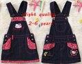 Nueva moda hello kitty niñas bebés denim dress kids trajes vestidos verano dressess casual para chicas 90-130 cm
