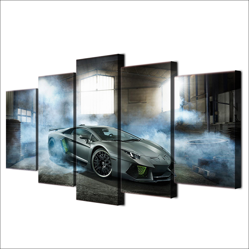 Modern Pictures Modular Canvas Poster HD Printed Wall Art 5 Pieces Home Decor Smoke Gray Luxury Sports Car Painting Frame PENGDA 1