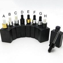 10 шт./лот 30 мл матовое черное квадратное эфирное масло Флаконы капельницы с алюминиевый колпачок с капельницей