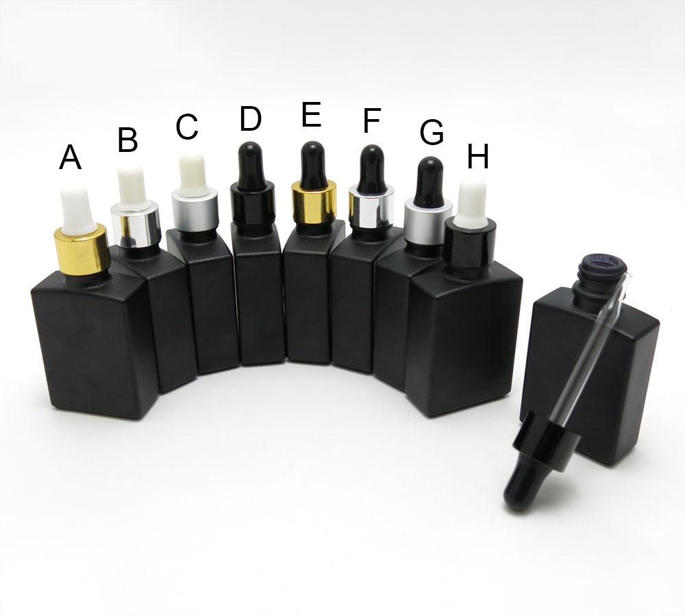 10PCS/LOT 30ML Matte Black Square Essential Oil Dropper Bottles With Aluminum Dropper Cap