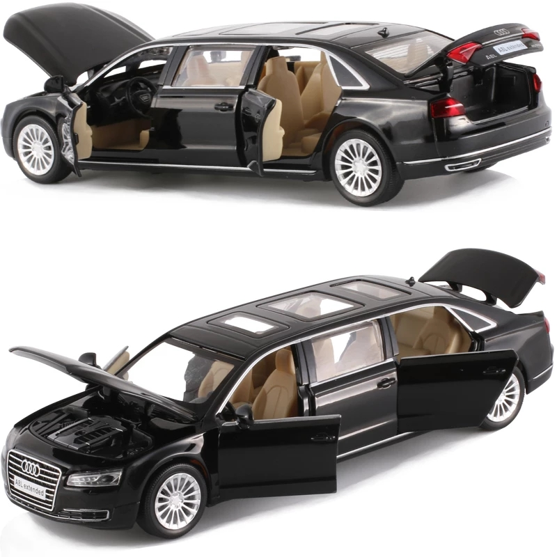 Licensed Model 19.5Cm Extended Audi A&L Die-Cast Car 6 Openable Doors Excellent Quality Red And Black Color Collective
