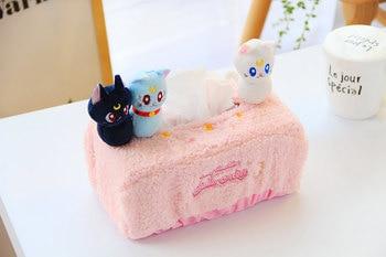 Anime creativo Sailor Moon Luna gato de peluche largo figura de felpa juguete de dibujos animados Rosa coche sala de estar servilletero almacenamiento de papel cubierta