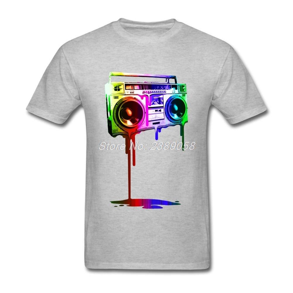 ①Hombres Camisas melting boombox fresco famoso digital Arco Iris ...