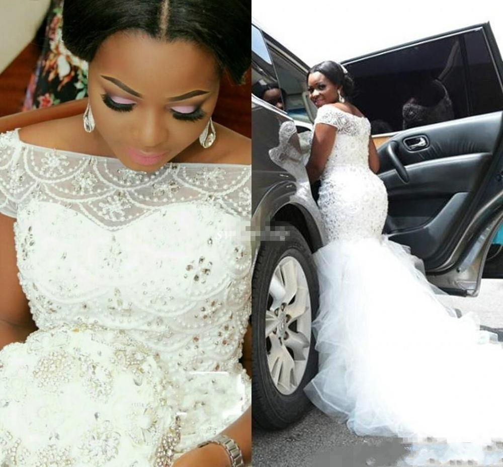 Flash Sale Nigeria Mermaid Wedding Dresses Plus Size African Wedding Gowns Ruffles Crystal Beaded Country Bridal Gowns Boat Neckline Bride,Hot Weather Simple Wedding Dresses 2020