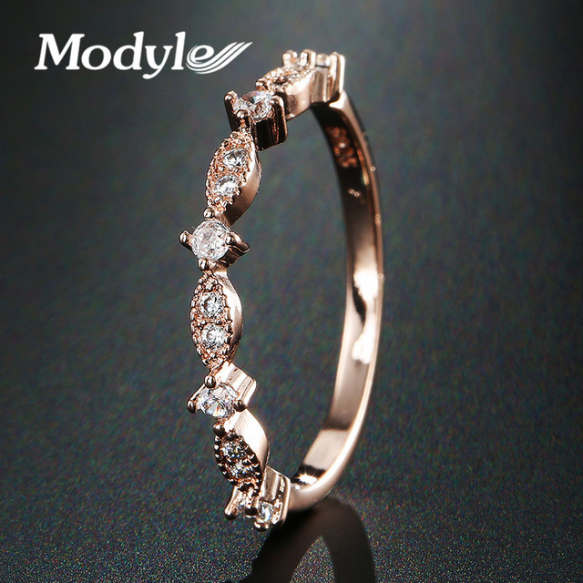 Modyle Rose Gold Color TOP Class Heart Rhinestones Eternity Wedding Ring for Woman