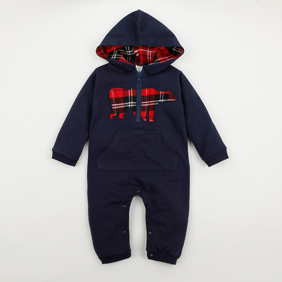 Unisex Newborn Baby Clothes Long Sleeve Hoodie Jumpsuits Autumn Baby Boys Costume 2018 Christmas Gift Baby Boy Rompers