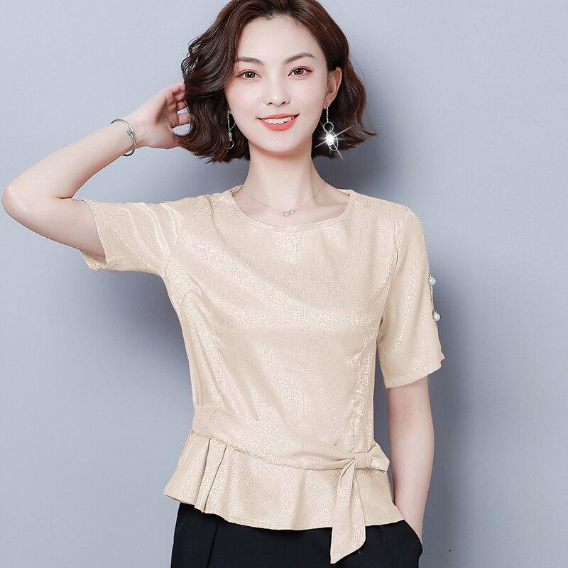 Korean Fashion Silk Women Blouses Satin Womens Tops and Blouses Short Sleeve Pink Women Shirts Plus Size XXXL/4XL Ladies Tops