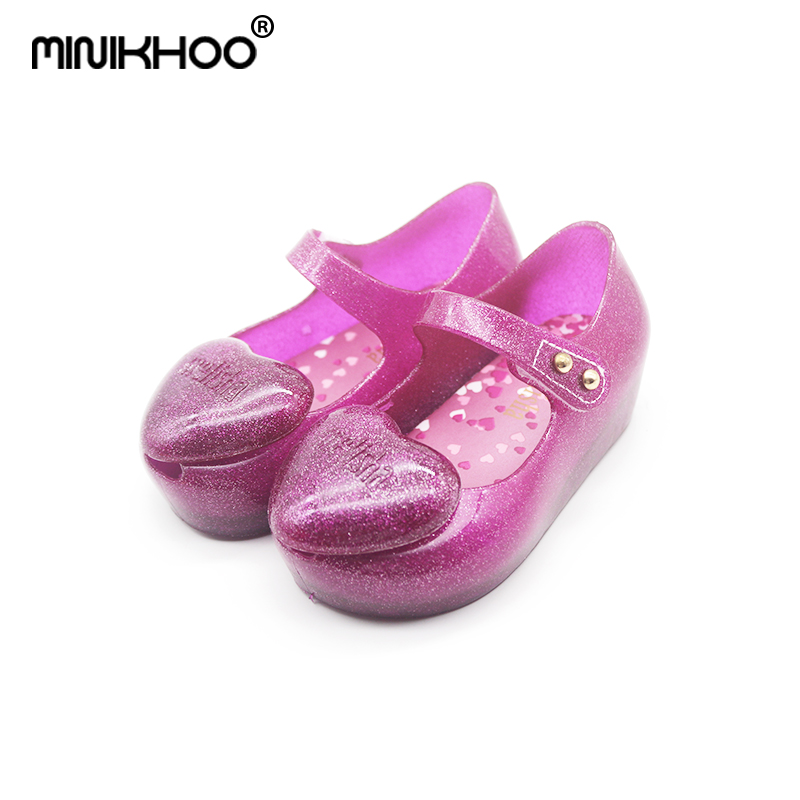 Mini Melissa Love 2018 New Lovely Girls Jelly Sandals Children Shoes Sandals For Baby Comfortable Beach Sandals 13cm-15.5cm