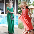 2014 antique child 100% cotton long design one-piece dress bohemia girl princess beach full dress clothes