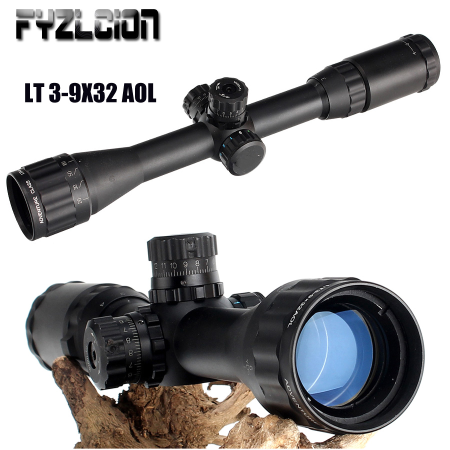 LT 3-9X32 AOL 1 inch Full Size Tactical Optical Sight Illuminate Mil-Dot RifleScope Locking Resetting Hunting Rifle Scope tactial qd release rifle scope 3 9x32 1maol mil dot hunting riflescope with sun shade tactical optical sight tube equipment