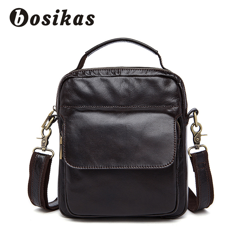 BOSIKAS Men Bag Messenger Bags Genuine Leather Small Flap Crossbody Bags For Men Shoulder Fashion Business Oilleather Phone Pack