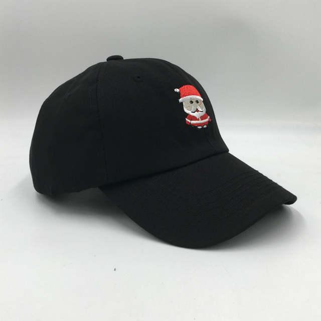 placeholder embroidery cartoon Santa Claus dad hat for women or men black  adjustable cotton Christmas baseball cap dcec38e7e5ff