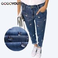 High Waist Jeans Women 2017 Autumn Winter Fashion Embroidery Mom Jeans Female American Apparel Denim Pants Boyfriend Jeans Femme