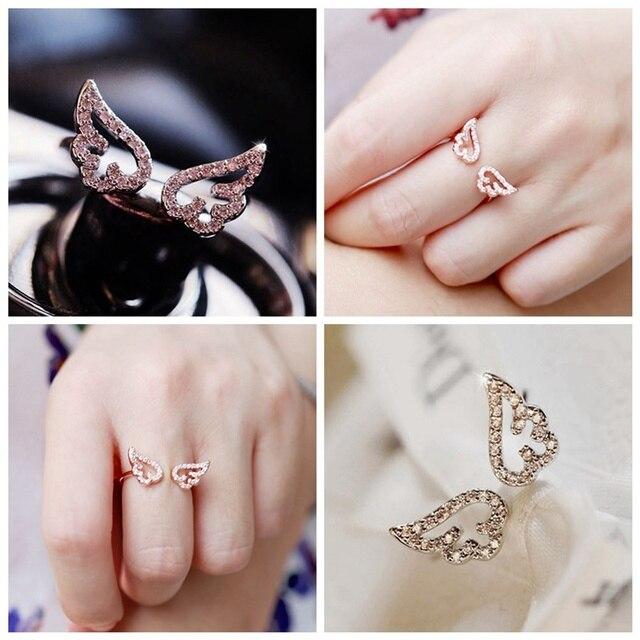 7a54f5393482 Nuevo estilo de moda ajustable alas del ángel anillo Micro Pave Zircon oro  Color anillos para