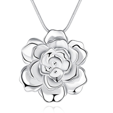 JEXXI Newest Trendy 925 Sterling Silver Flower Pendant Necklace Romantic Gift Jewelry For Woman Fast Free Shipping
