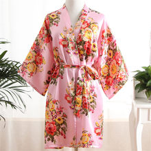 Elegant Pink Women Kimono Bath Gown Sexy Bride Bridesmaid Wedding Robe Nightgown Sexy Home Clothing Sleepwear Negligee Lingerie(China)