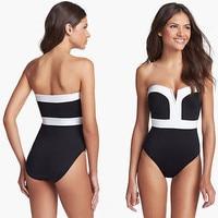 2015 New Triangle Push Up Siamese Strapless Bandeau Bikinis Set Slim Swimwear Sexy Women Swimsuit Maillot