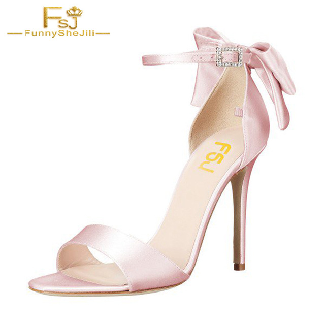 Women s White Ankle Strap Bow Stiletto Heel Bridal Sandals Silk Pumps Shoes  Buckle Strap Butterfly-knot Wedding Party Pink FSJ 2dd75e4a2778