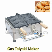 Gas Nonstick Taiyaki Machine Small Commercial 3pcs Fish Waffle Baker Snack Food Maker Wooden Hanldes