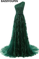 Evening Dress Long 2017 Free Shipping Vestidos De Festa Longos Emerald Green One Shoulder Prom Dresses