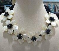 Ücretsiz Kargo Doğal Deniz Kabuğu Çiçek Chocker Kolye Craft Çiçek Siyah Kristal Kadınlar Takı Ile Seashell çiçekler
