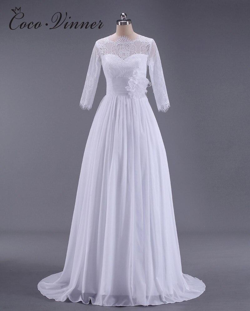 C.V Vestido De Noiva BOHO Lace Country Wedding Dress 2018 New 3/4 Sleeve Plus Size A lin ...