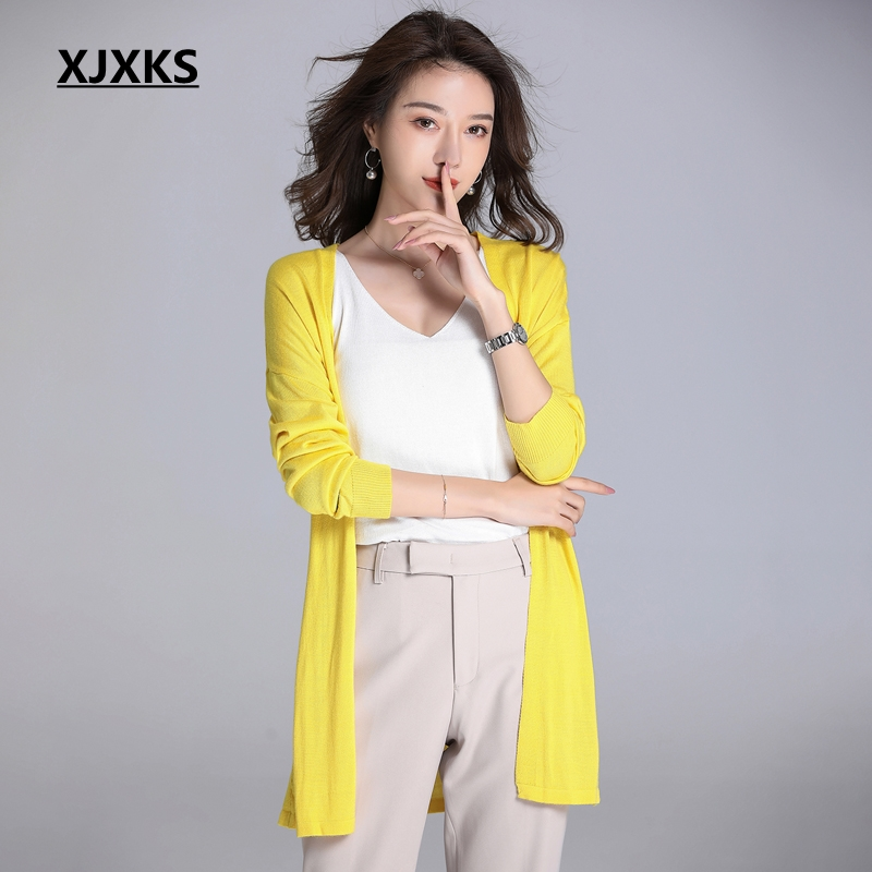 XJXKS New 2019 Cardigan Women Linen Thin Sweater Women Breathable Solid Long Sweater Coat Sun Protection Clothing
