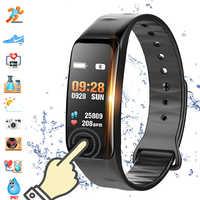 Écran couleur C1S Bracelet intelligent étanche moniteur de fréquence cardiaque santé Fitness Tracker Bluetooth montre intelligente pour Sport PK MI Band4