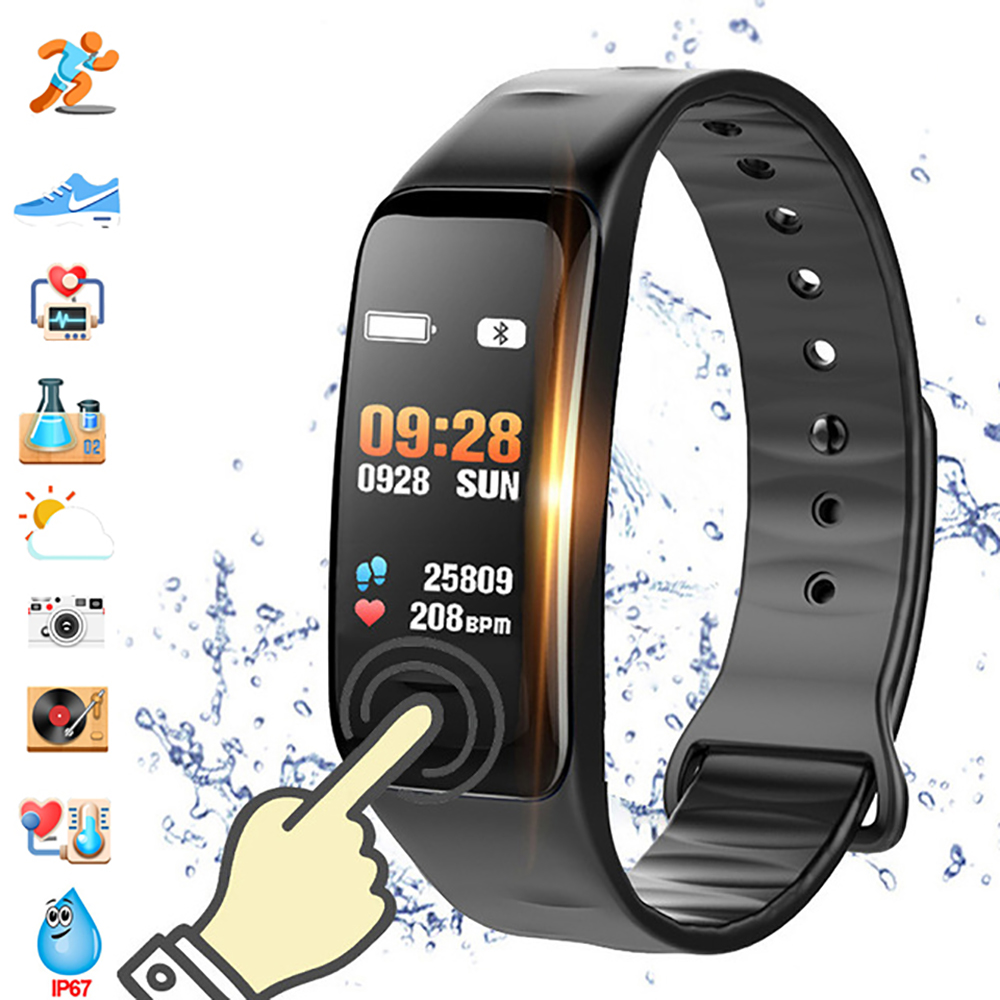Color Screen C1S Smart Bracelet Waterproof Heart Rate Monitor Health Fitness Tracker Bluetooth Smart Watch for Sport PK MI Band