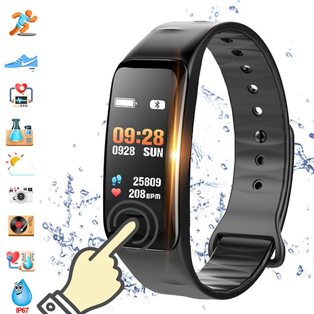 Farbe Bildschirm C1S Smart Armband Wasserdicht Heart Rate Monitor Gesundheit Fitness Tracker Bluetooth Smart Uhr für Sport PK MI Band4