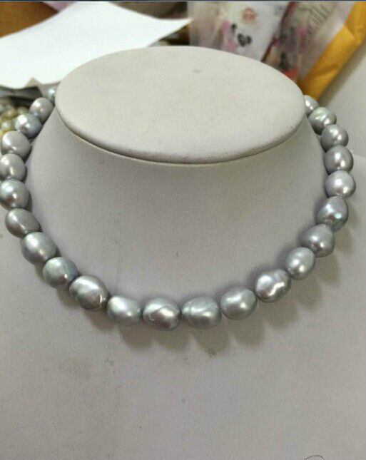 11 12MM natural south seas silver grey pearl necklace 18''