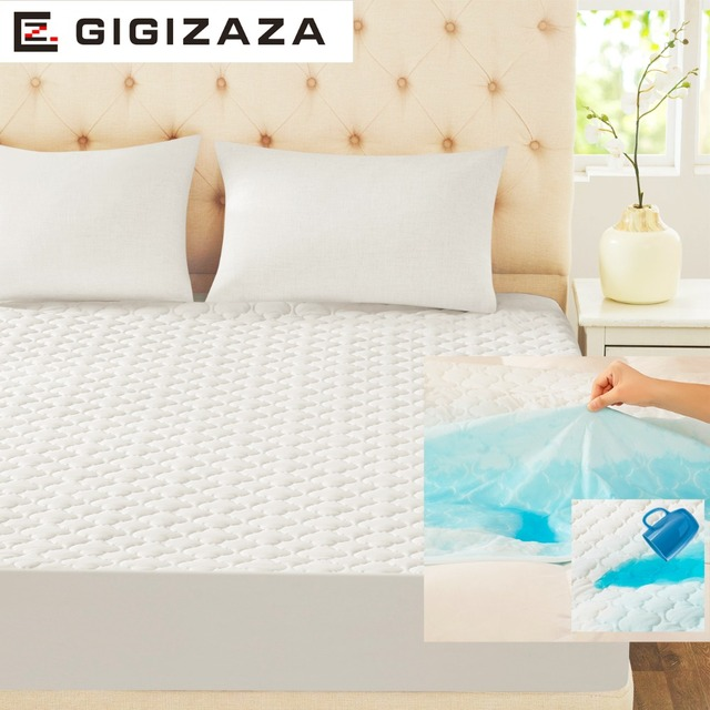 GIGIZAZA Waterproof Mattress Pad 150 x 200 cm White TPU Foam Back Quilt Mattress Protect Cover for Bed Full Queen Size