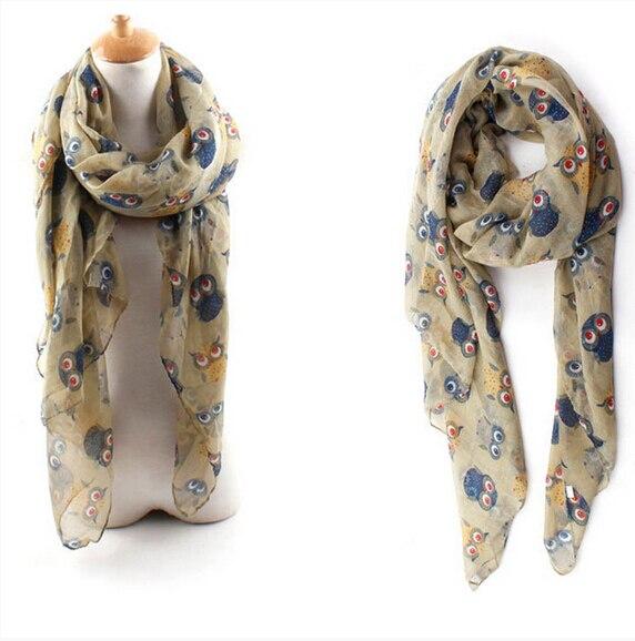 Imc 2016 Осень Модные женские шарфы с принтом животных сова шарф милый шарф Сова с отрасль вуаль долго платок темно-синий