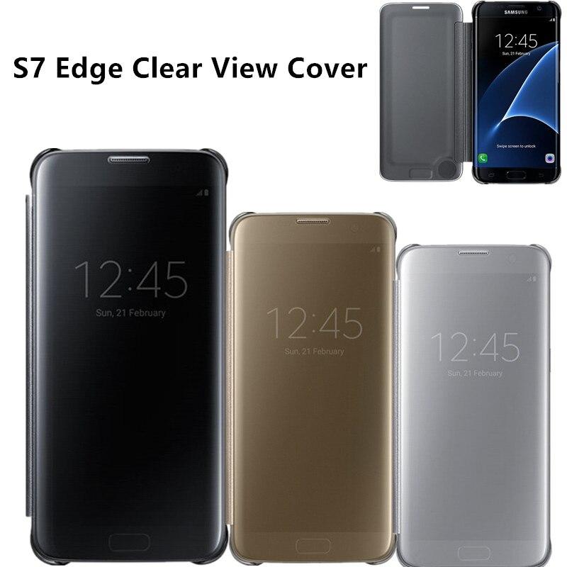 imágenes para EF-ZG935 Original Espejo Visión Clara Cubierta de la Caja Del Teléfono Inteligente Para Samsung Galaxy Borde S7/S7 Con Despertar Del Tirón Delgado