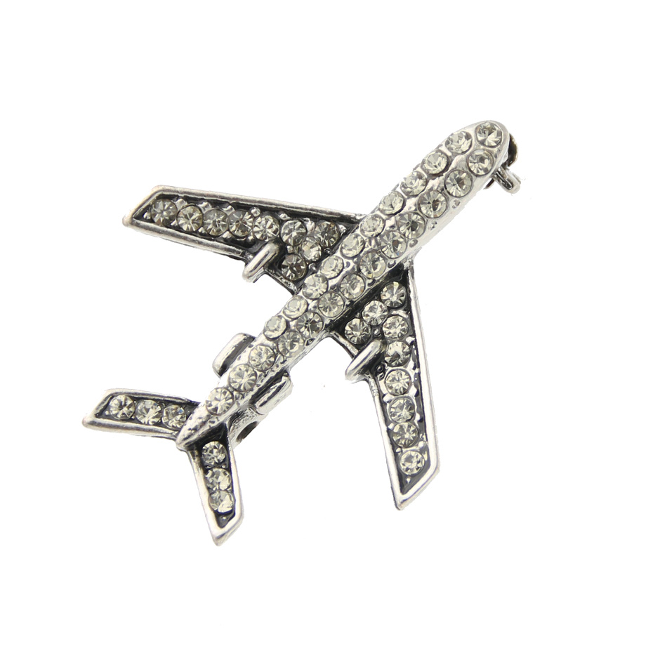 Classic Women Plane Brooch Pin Stewardess Logo Pilot Badge Austria Rhinestone Brooches Broches Sign Jewelry Lucky Flying Corsage