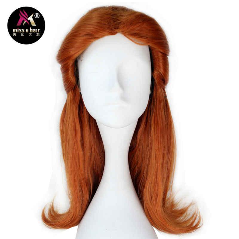 Perruque synthétique longue ondulée marron pour fille | Perruque pre-style couleur Auburn pour déguisement halloween Cosplay