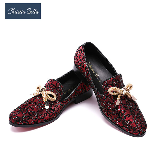 Christia Bella Luxury Smoking Slipper Wedding Formal Dress Shoes Italian Men  Shoes with Knot Fashion Party Banquet Men Loafers ef682110ba44