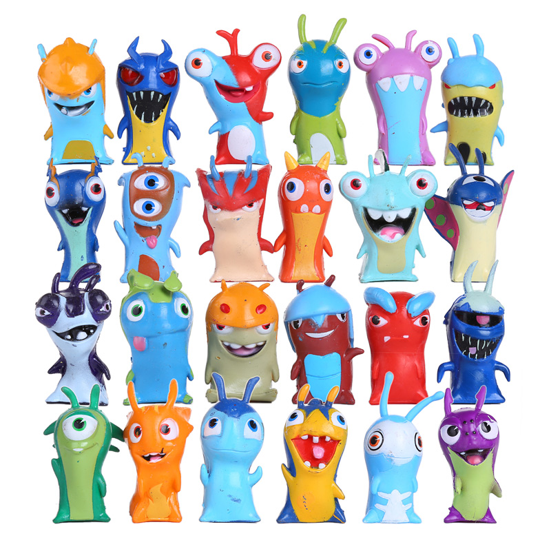 24pcs/set Slugterra Action Figures Toy 5cm Mini Slugterra Anime Figures Toys Doll Slugs Children Kids Boys Toy anime ash ketchum gym badges badge brooch small squirtle bulbasaur figures toy zinic alloy brooch action figures toy