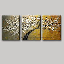 3 piece canvas wall art tree abstract knife acrylic painting flower decoration painting oil canvas picture for kitchen office