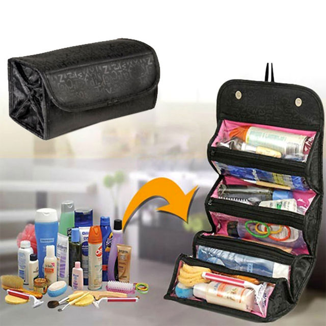 Travel Cosmetic Organizer Roll Up Makeup Case Toiletry Bag Portable Storage Bags