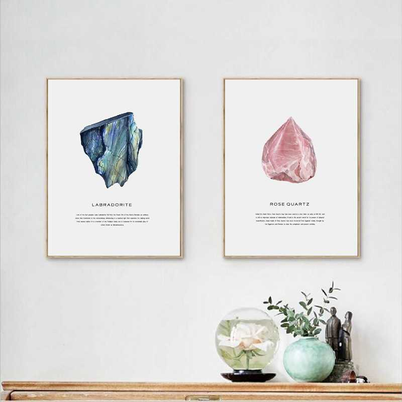 Watercolor Crystals Geode Art Canvas Painting Wall Picture Rose Quartz Gem Canvas Prints And Poster Modern Home Agate Art Decor