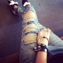 2015 hot fashion Slim Women / cowgirl friends Kocse a hole torn cotton sexy women leggings Jeans Leggings Pants