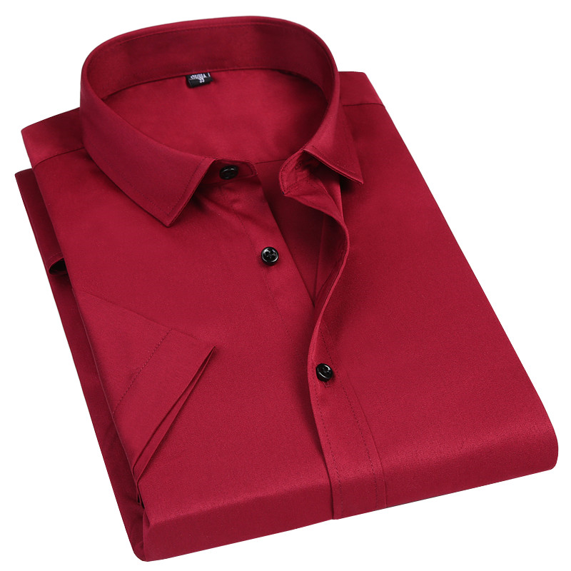 Elasticity Slim Fit Men Short Sleeved Shirt Red White Black Blue Male Social Formal Dress Casual Shirt Classic Solid Color