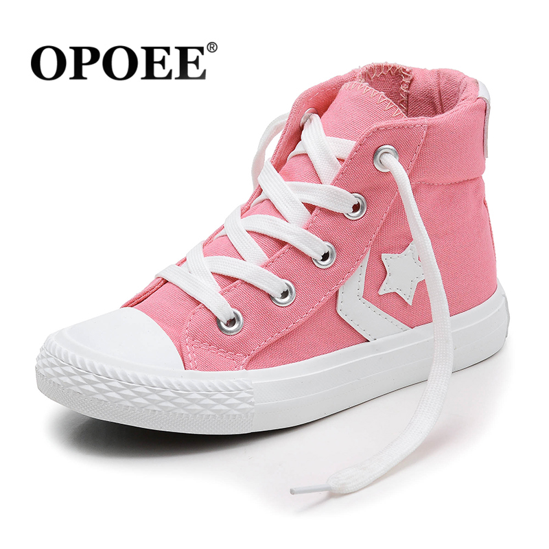 OPOEE Children canvas shoes boys and girls high top shoes candy performance shoes