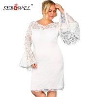2c4ca8b5454c3 SEBOWEL Black White Plus Size Flower Lace Party Dress Women Spring Elegant  Sexy Flared Sleeve