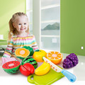 6PCS / Set Plastic Kitchen Pretend Play Food Fruit Vegetable Cutting Toy For kid Educational Toy Play house toys miniature