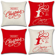 купить White Red Merry Christmas Letter Pillow Case Linen Elk Pattern Home Office Chair Throw Pillow Cover Square Pillowcase 45x45cm дешево
