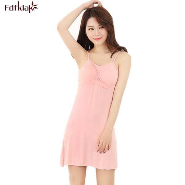 287d7fc5fc 2017 Summer Sexy Sleeping Gowns Spaghetti Strap Cotton Nightgown Sleeveless  Sexy Nightdress Sleepwear Night Gown Pink M-XXL Q153