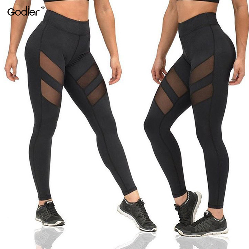 Godier Net Yarn Patchwork Ladie Elastic Hollow Push Up Women Leggings High Waist Black Pants Transparent Sexy Leggings Jc0048