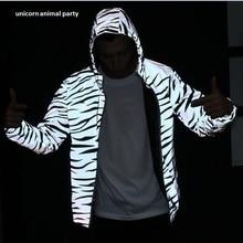 zebra fluorescent clothing Men jacket casual hiphop windbreaker 3m reflective jacket  tide men coat hooded джинсы мужские tide with community c033 1 coogi hiphop